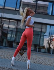 Leggings double push up korall