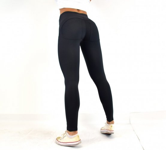 Warm winter leggings double push up black